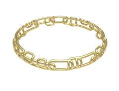 18 Karat Yellow Matte Gold Soft Rectangle Bangle Bracelet