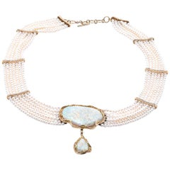 18 Karat Yellow Multi-Strand Pearl Necklace with Opal and Diamonds