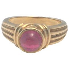 18 Karat Yellow Pink Tourmaline Cabochon Ring