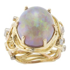 18 Karat Yellow Rose Gold Opal and Diamond Cocktail Ring