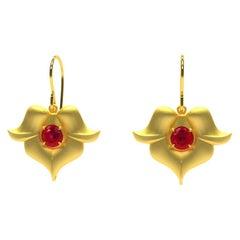 18 Karat Yellow Gold Ruby Arabesque Flower Earrings