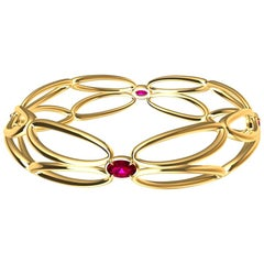 18 Karat Yellow Ruby Arabesque Wings Bracelet