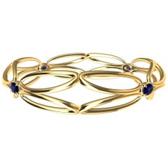 18 Karat Yellow Sapphire Arabesque Wings Bangle