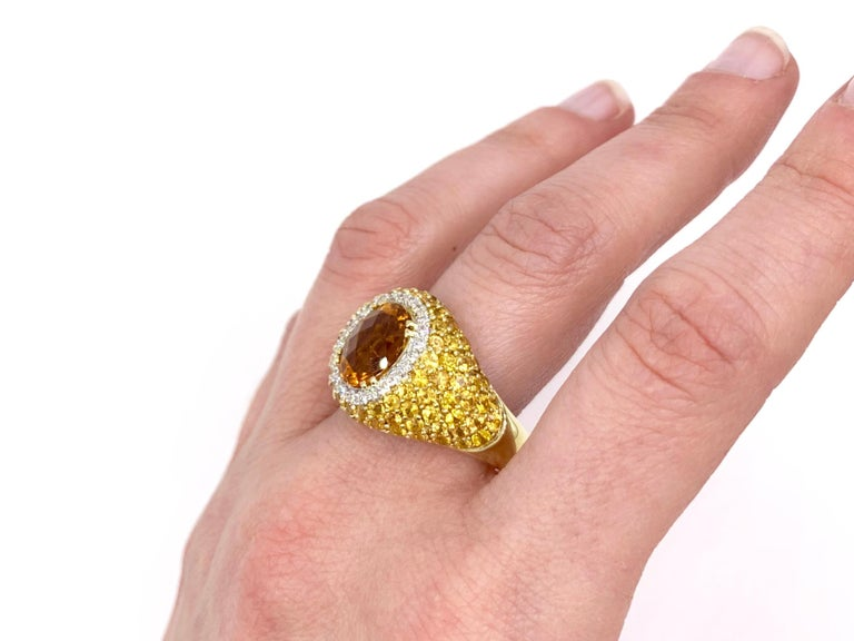 18 Karat Yellow Sapphire, Citrine and Diamond Ring For Sale 5