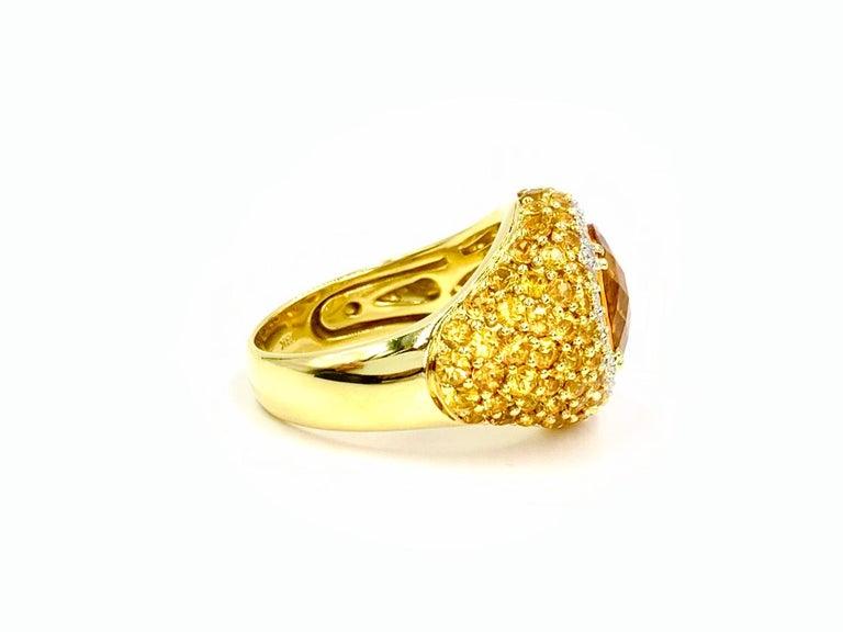 Contemporary 18 Karat Yellow Sapphire, Citrine and Diamond Ring For Sale