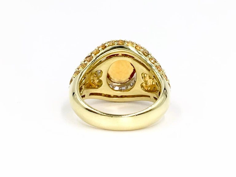 18 Karat Yellow Sapphire, Citrine and Diamond Ring In New Condition For Sale In Pikesville, MD