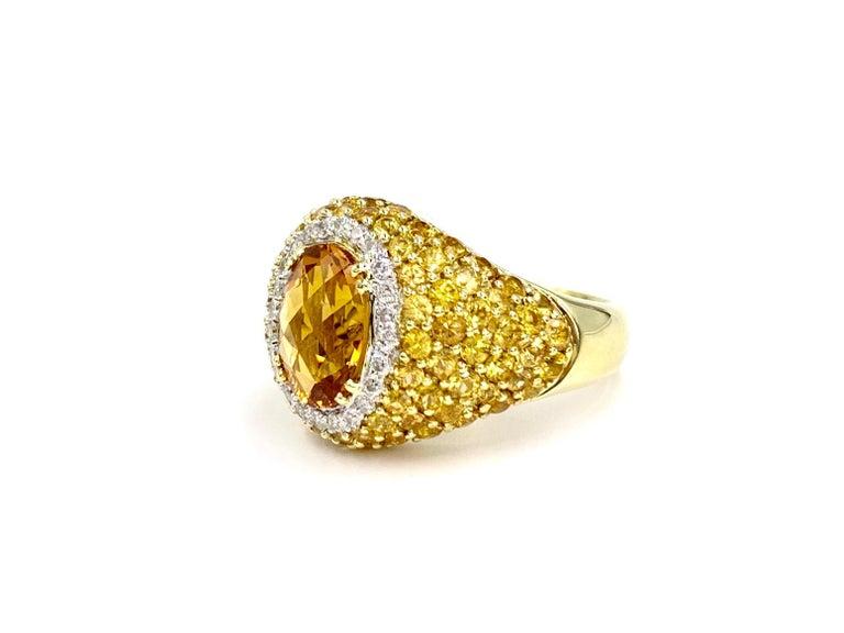 18 Karat Yellow Sapphire, Citrine and Diamond Ring For Sale 1