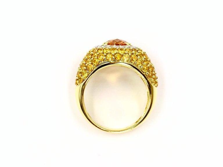 18 Karat Yellow Sapphire, Citrine and Diamond Ring For Sale 2