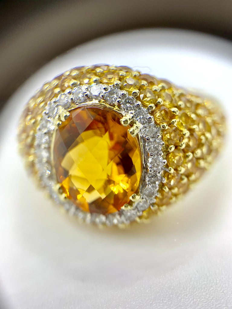 18 Karat Yellow Sapphire, Citrine and Diamond Ring For Sale 3