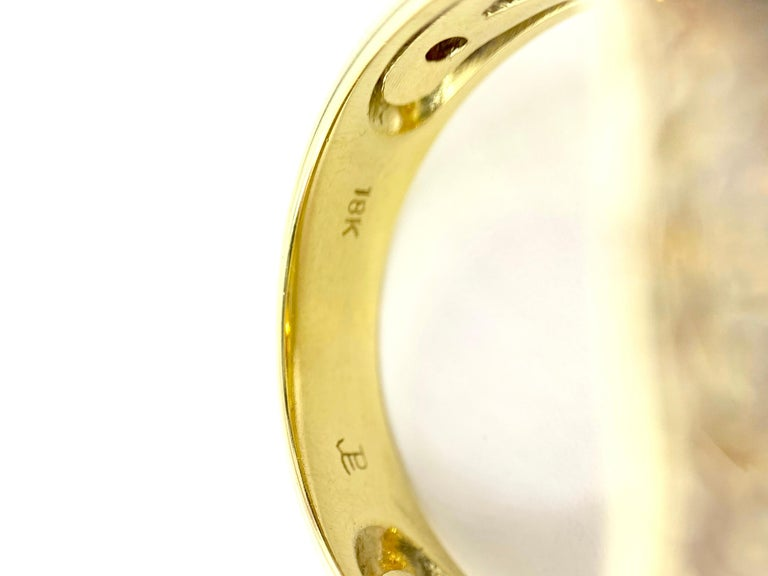 18 Karat Yellow Sapphire, Citrine and Diamond Ring For Sale 4