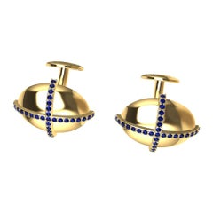 18 Karat Yellow Sapphire Dome Cross Cufflinks