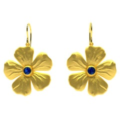 18 Karat Yellow Vermeil and Sapphires Periwinkle Flower Earrings