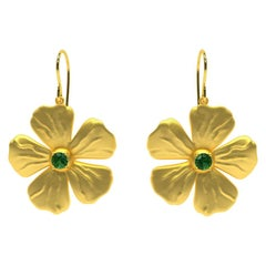 18 Karat Yellow Vermeil and Tsavorite Periwinkle Flower Earrings
