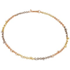 18 Karat Yellow White and Rose Gold Link Necklace with Brilliant Cut Diamonds