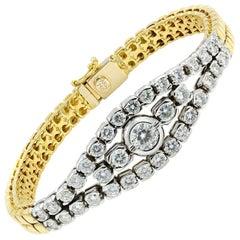 18 Karat Yellow/White Gold 2.75 Carat Diamond Smooth 32gr Bracelet