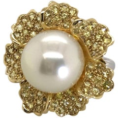 18 Karat Yellow and White Gold Australian South Sea Pearl and Sapphire Ring