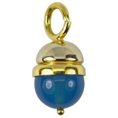 18 Karat Yellow White Gold Blue Agate Sphere Charm Pendant