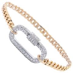 18 Karat Yellow & White Gold Cuban Link Bracelet with Pave Diamond Buckle Clasp