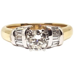 18 Karat Yellow White Gold Diamond Engagement Bridal Baguette Ring 1.10 Carat