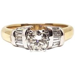 18 Karat Yellow White Gold Diamond Engagement Bridal Baguette Ring 1.10 Carat