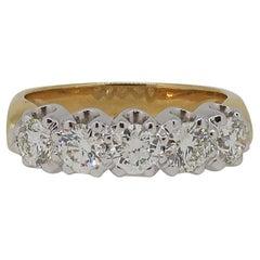 18 Karat Yellow & White Gold Diamond Five Stone Eternity Band Ring