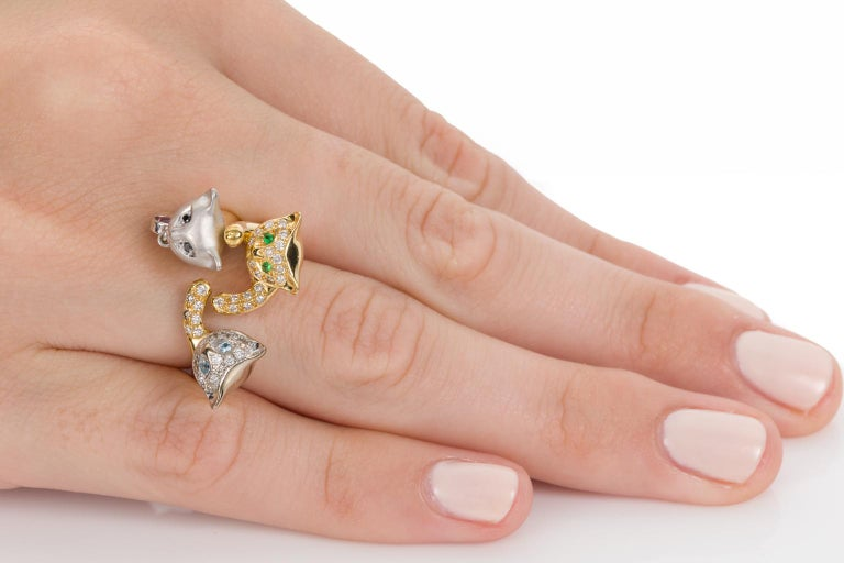 18 Karat Yellow and White Gold Diamond and Gemstone Set Cat Lovers Cocktail Ring For Sale 5