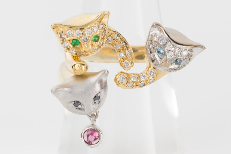 Round Cut 18 Karat Yellow and White Gold Diamond and Gemstone Set Cat Lovers Cocktail Ring For Sale