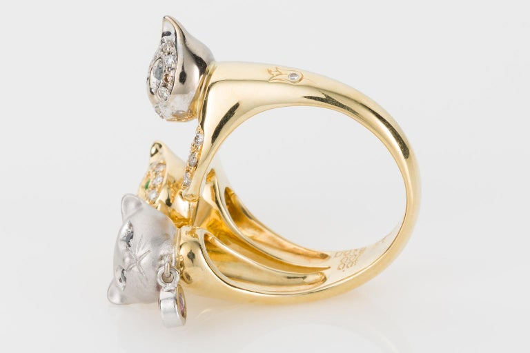 18 Karat Yellow and White Gold Diamond and Gemstone Set Cat Lovers Cocktail Ring For Sale 2
