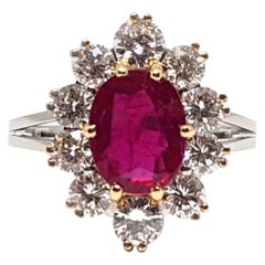 18 Karat Yellow White Gold Diamond Red Ruby Engagement Princess Diana Ring