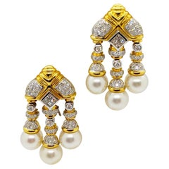 18 Karat Yellow & White Gold, Earrings with South Sea Pearls & 2.74Ct. Diamonds