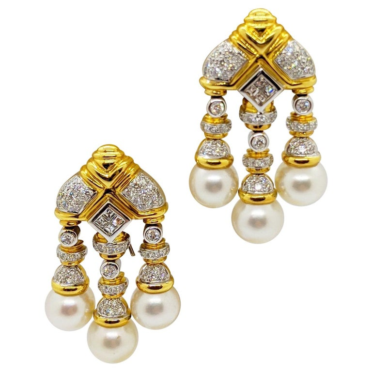 18 Karat Yellow & White Gold, Earrings with South Sea Pearls & 2.74Ct. Diamonds For Sale
