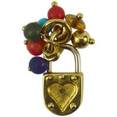 18 Karat Yellow White Gold Gem Set Love Heart Padlock Tassel Charm Pendant