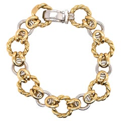 18 Karat Yellow & White Gold Link Bracelet 20.8 Grams Made in Italy