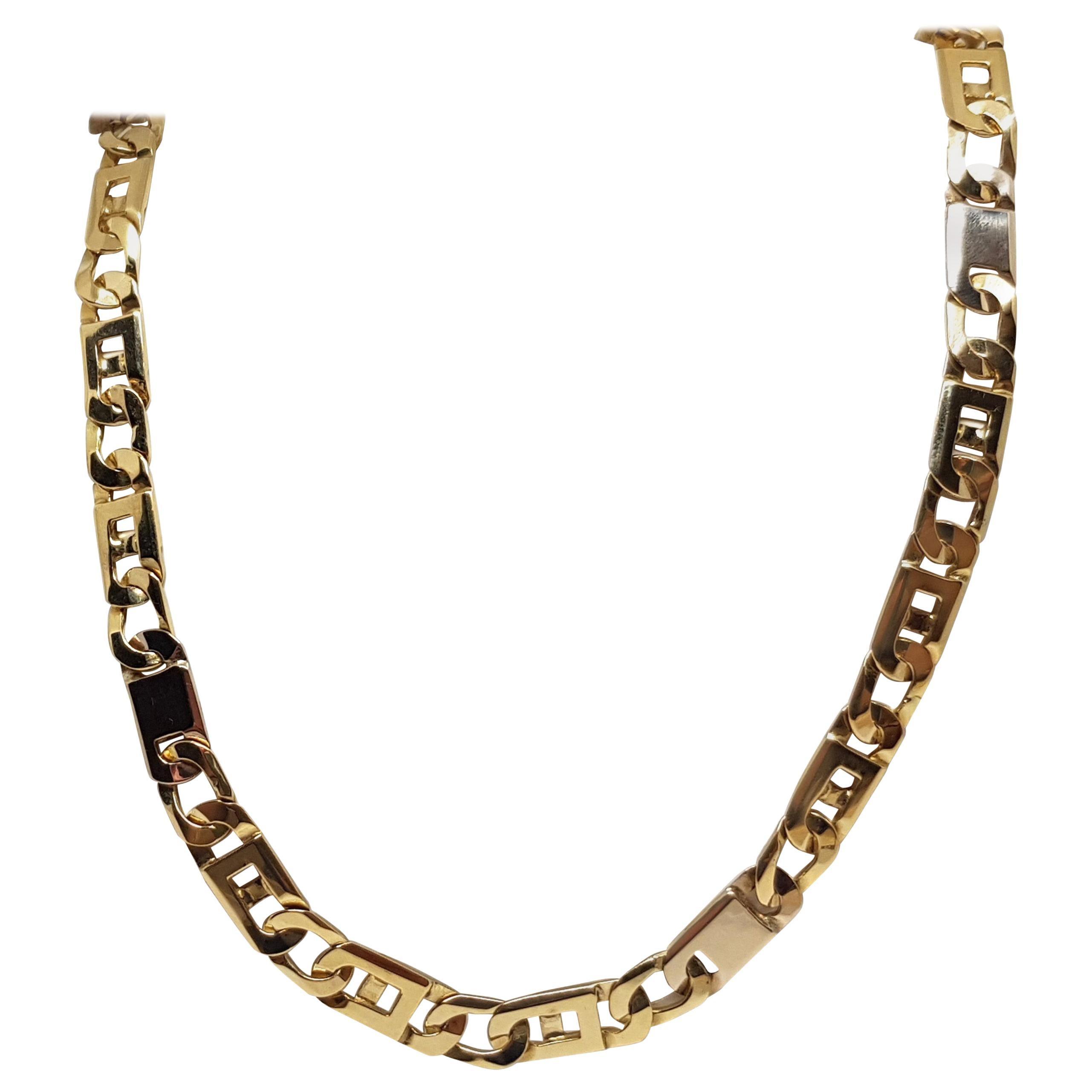 18 Karat Yellow White Gold Men's Chain Necklace
