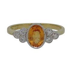 18 Karat Yellow & White Gold Oval Yellow Sapphire and Diamond Ring