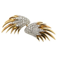 18 Karat Yellow and White Gold Pave Diamond Flame Earrings