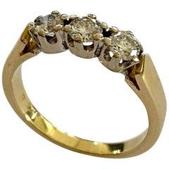 18 Karat Yellow/White Gold Three Stones Ring 0.60 Carat Classic Dutch Ring