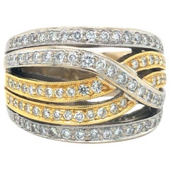 18 Karat Yellow White Gold Two-Tone Diamond Crossover Ribbon Ring Band