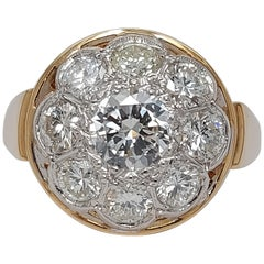 18 Karat Yellow / White Gold Vintage Ring with 2.35 Carat Brilliant Cut Diamonds