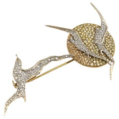 18 Karat Yellow White Red Gold Diamonds Brooch