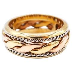 18 Karat Yellow White Rose Gold Braid and Rope Band Ring