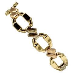 18 Karat Yellow White Rose Gold Tri Tone Fancy Link Bracelet