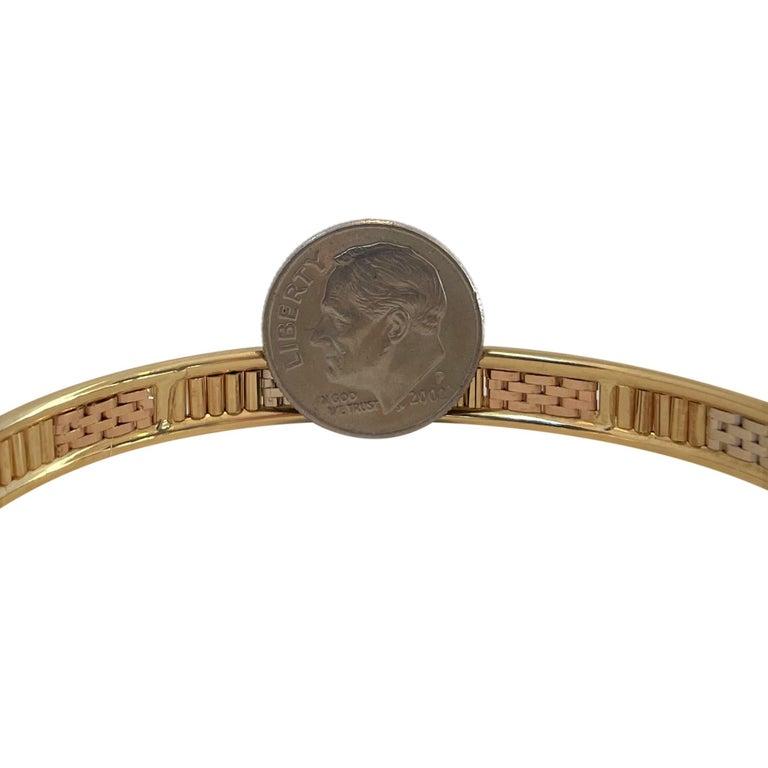 Women's 18 Karat Yellow White Rose Gold Tri Tone Vintage Bangle Bracelet For Sale