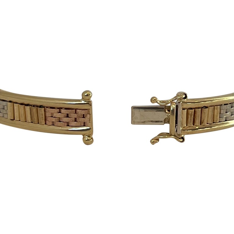 18 Karat Yellow White Rose Gold Tri Tone Vintage Bangle Bracelet For Sale 1