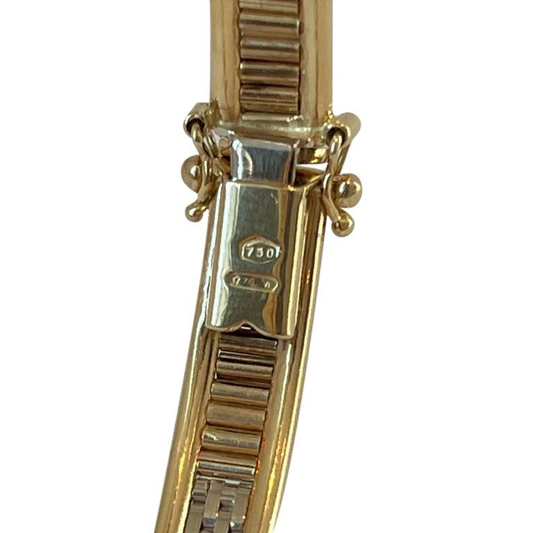 18 Karat Yellow White Rose Gold Tri Tone Vintage Bangle Bracelet For Sale 2