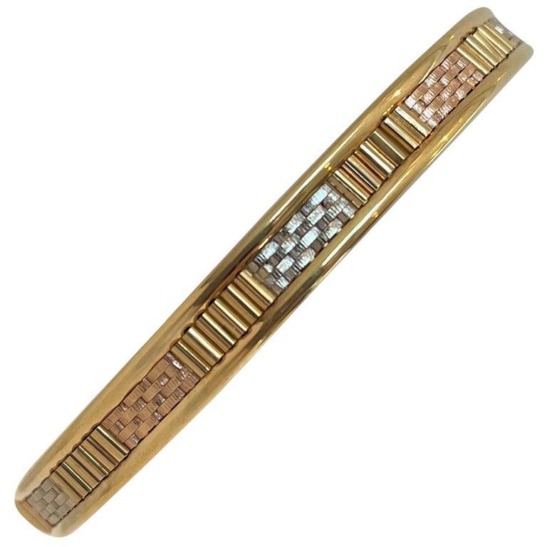 18 Karat Yellow White Rose Gold Tri Tone Vintage Bangle Bracelet For Sale