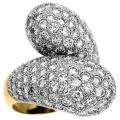 18 Karat Yellow White Two-Tone Gold Diamond Crossover Bypass Ring