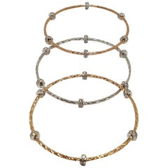 18 Karat Yellow, White and Rose Gold Diamond Bangles