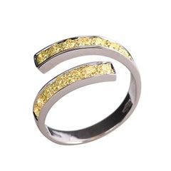 """18 Karats White Gold 0.50 Karat Yellow Diamonds """"Spiral"""" Engagement Design Ring"""