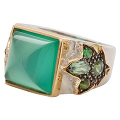 18 Karat Yellow Gold and Silver Sterling Green Agate Green Tourmaline Ring
